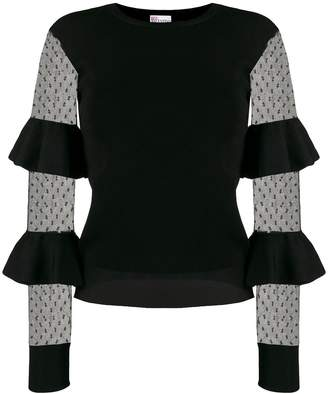 RED Valentino ruffle panelled sleeve top
