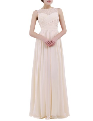 inlzdz Womens Elegant Chiffon Lace Wedding Bridesmaid Dress Evening Prom Gown Empire Maxi Long Dress Navy Blue 12