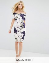 Asos Bardot Off Shoulder Midi Bodycon Dress in Pretty Floral