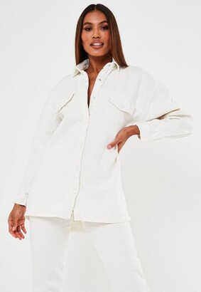 Missguided White Oversized Button Up Denim Shirt