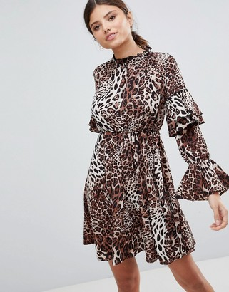 Club L London High Neck Leopard Detailed Tiered Arm Dress-Multi