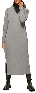 Whistles Knit Merino Wool V-Neck Dress