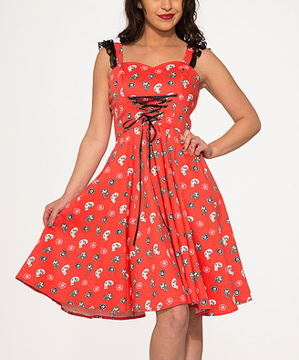 HEARTS & ROSES LONDON Women's Special Occasion Dresses Red - Red Skull Corset-Front Sleeveless Fit & Flare Dress - Women