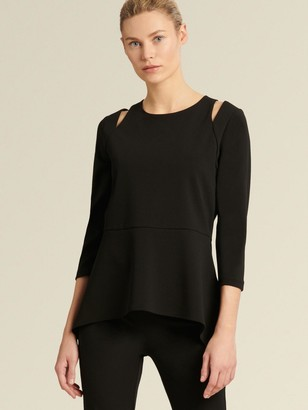 DKNY Donna Karan Women's Peplum Top With Shoulder Slit - Black - Size XX-Small