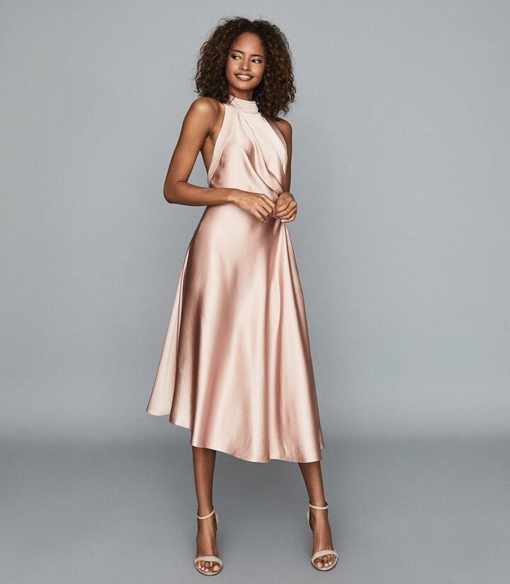 Reiss Rita - Halterneck Satin Midi Dress in Pink