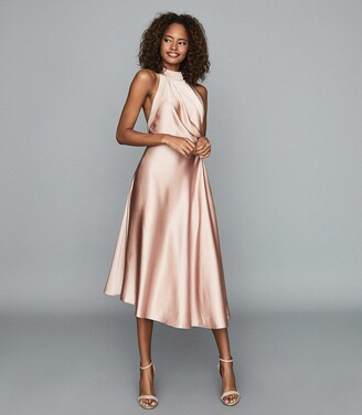 Reiss Rita - Halterneck Satin Midi Dress in Pink