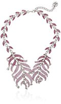 """Betsey Johnson Ballerina Rose Pave Feather Collar Necklace, 18"""""""