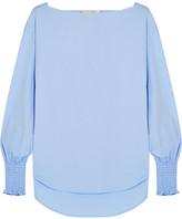 Cédric Charlier Smocked Cotton-blend Poplin Top - Sky blue