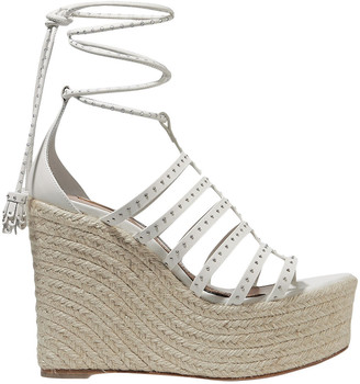 Alaia 140 Studded Cutout Leather Wedge Espadrilles
