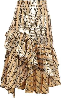 Temperley London Eliska Asymmetric Ruffle-trimmed Metallic Fil Coupe Skirt