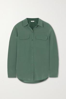 Equipment Slim Signature Washed-silk Shirt - Green