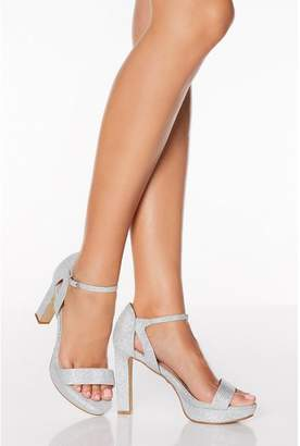 Quiz Silver Shimmer High Heeled Sandals