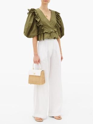 Rhode Resort Elodie Ruffle-trimmed Cotton-voile Blouse - Womens - Dark Green
