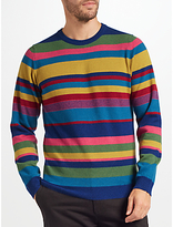 John Lewis Italian Cashmere Bright Stripe Jumper, Multi