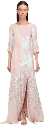 Temperley London Sequined Georgette Long Dress W/Slit