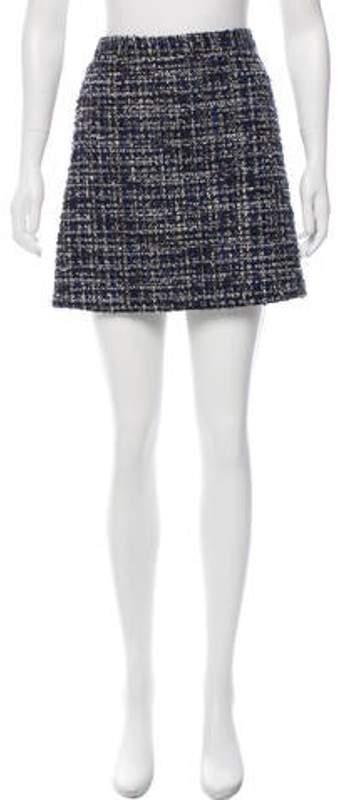 Alice + Olivia Bouclé Mini Skirt Blue Bouclé Mini Skirt