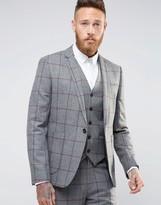 Asos Skinny Suit Jacket in Window Pane Check