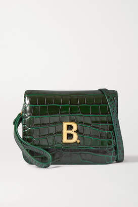 Balenciaga B Dot Small Croc-effect Patent-leather Shoulder Bag - Green