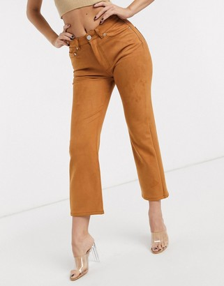 Asos Design DESIGN High rise 'effortless' stretch kick flare jeans in faux suede-Brown