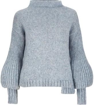 Salanida Puff Sleeve Alpaca Blend Sweater - Sky Blue