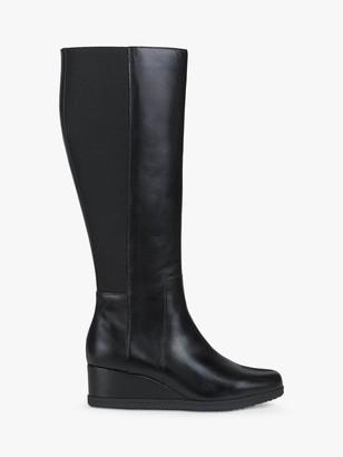 Geox Women's Anylla Wedge Heeled Leather Boots, Black