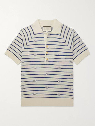 Gucci Logo-Intarsia Cotton And Wool-Blend Polo Shirt