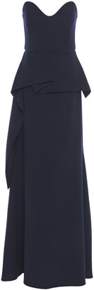 Roland Mouret Draped Wool-crepe Peplum Gown