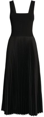 Theory Pleated Satin Midi Dress