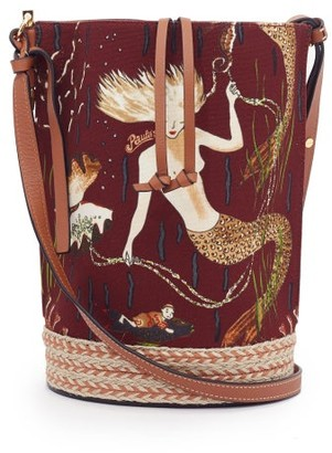 Loewe Paula's Ibiza - Gate Mermaid-print Canvas Bucket Bag - Burgundy Multi