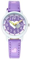 Guirui Watch Cute Cartoon Children Girls Love Heart Leather Strap Easy Reader Quartz Wrist Watch