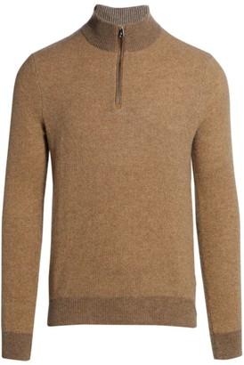 Ralph Lauren Purple Label Half Zip Cashmere Polo Sweater