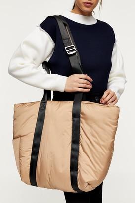 Topshop Womens Nylon Camel Pad Weekender Bag - Camel