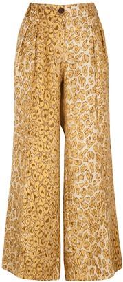 La Prestic Ouiston Luca leopard-print wide-leg silk trousers