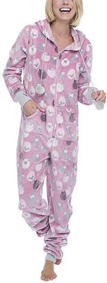 Munki Munki Women's One-Piece Pajamas PK - Pink Sheep Hooded One-Piece Pajama - Women