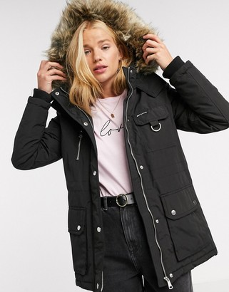 New Look faux fur hooded parka in black