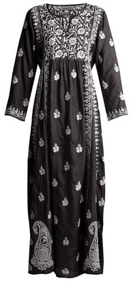 Muzungu Sisters - Floral-embroidered Silk Dress - Womens - Black White