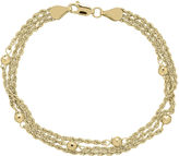JCPenney FINE JEWELRY Infinite Gold 14K Yellow Gold Bead Station Hollow Triple-Rope Chain Bracelet