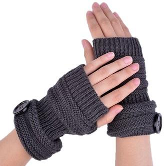 Saingace Fashion Winter Knitted Warm Fingerless Gloves Women Button Wrist Soft Mittens (Dark Gray)