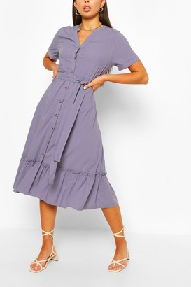 boohoo Tiered Hem Button Through Midi Dress