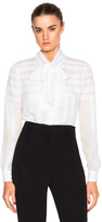 Oscar de la Renta Long Sleeve Tie Neck Blouse