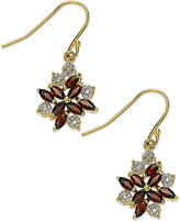 Townsend Victoria 18k Gold over Sterling Silver Earrings, Garnet (1-3/8 ct. t.w.) and Diamond Accent Cluster Earrings