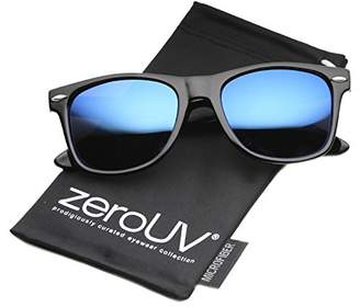 Zerouv Flat Matte Reflective Mirror Color Lens Large Horn Rimmed Style Sunglasses - UV400 (Polarized   Shiny Black/Blue)