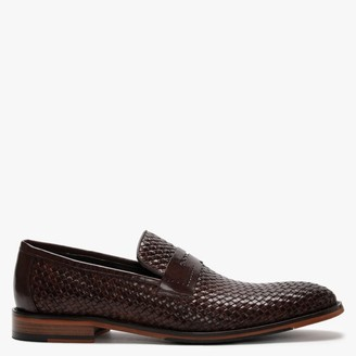 Daniel Xingbang Brown Leather Woven Loafers