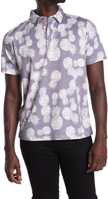 Natural Blue Visitor Pineapple Print Polo