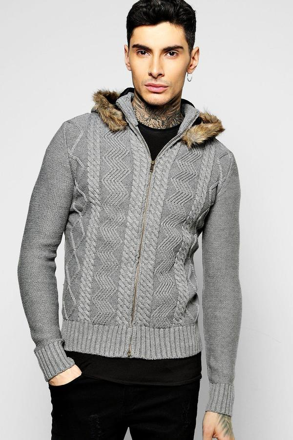boohoo Cable Knit Zip Through Hoodie With Hood grey