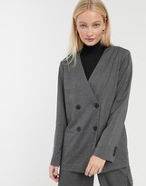 Monki double breasted blazer in grey