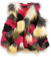 Catimini Open-Front Faux-Fur Vest, Multicolor, Size 12M-3