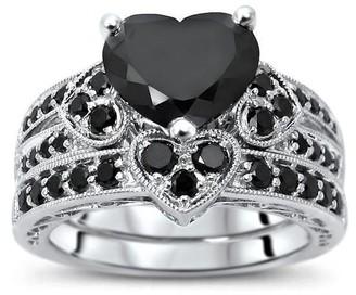 Overstock 14k White Gold 3.50ct Black Heart Shape Diamond Engagement Ring Bridal Set