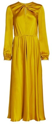 Giambattista Valli Knotted Keyhole Silk Ruched Gown