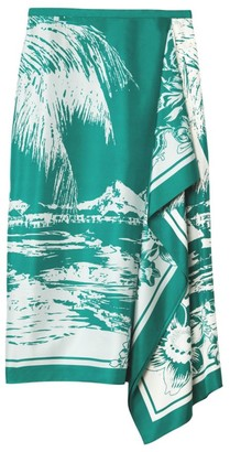 Tibi Lelani Tropical-Print Silk Ruffled Skirt